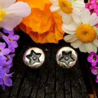 Star ear studs round small sterling silver stud earrings